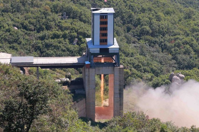 This undated picture released from North Korea's official Korean Central News Agency (KCNA) on September 20, 2016 shows the ground jet test of a new type high-power engine of a carrier rocket for the geo-stationary satellite at the Sohae Space Center in North Korea. North Korea has successfully tested a new, high-powered rocket engine, state media said, a move Seoul said was designed to showcase its progress towards being able to target the US east coast. / AFP PHOTO / KCNA / KCNA