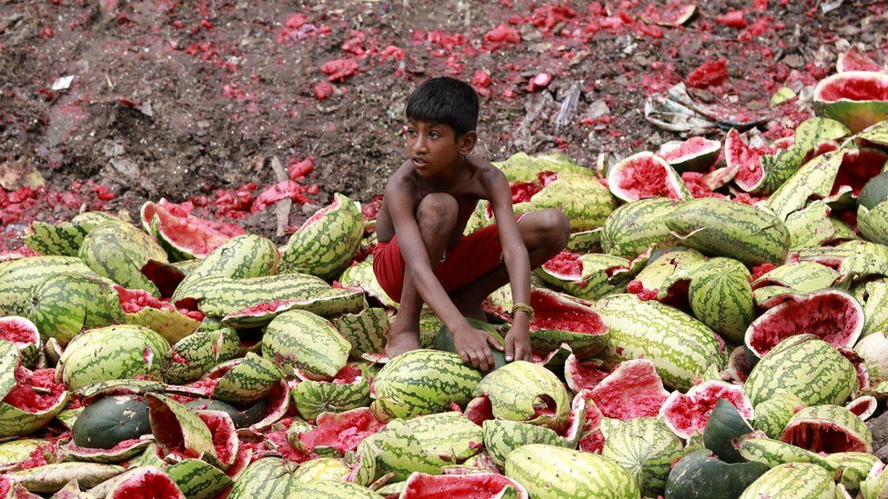 Child stands on dumped watermelons in Bangladesh