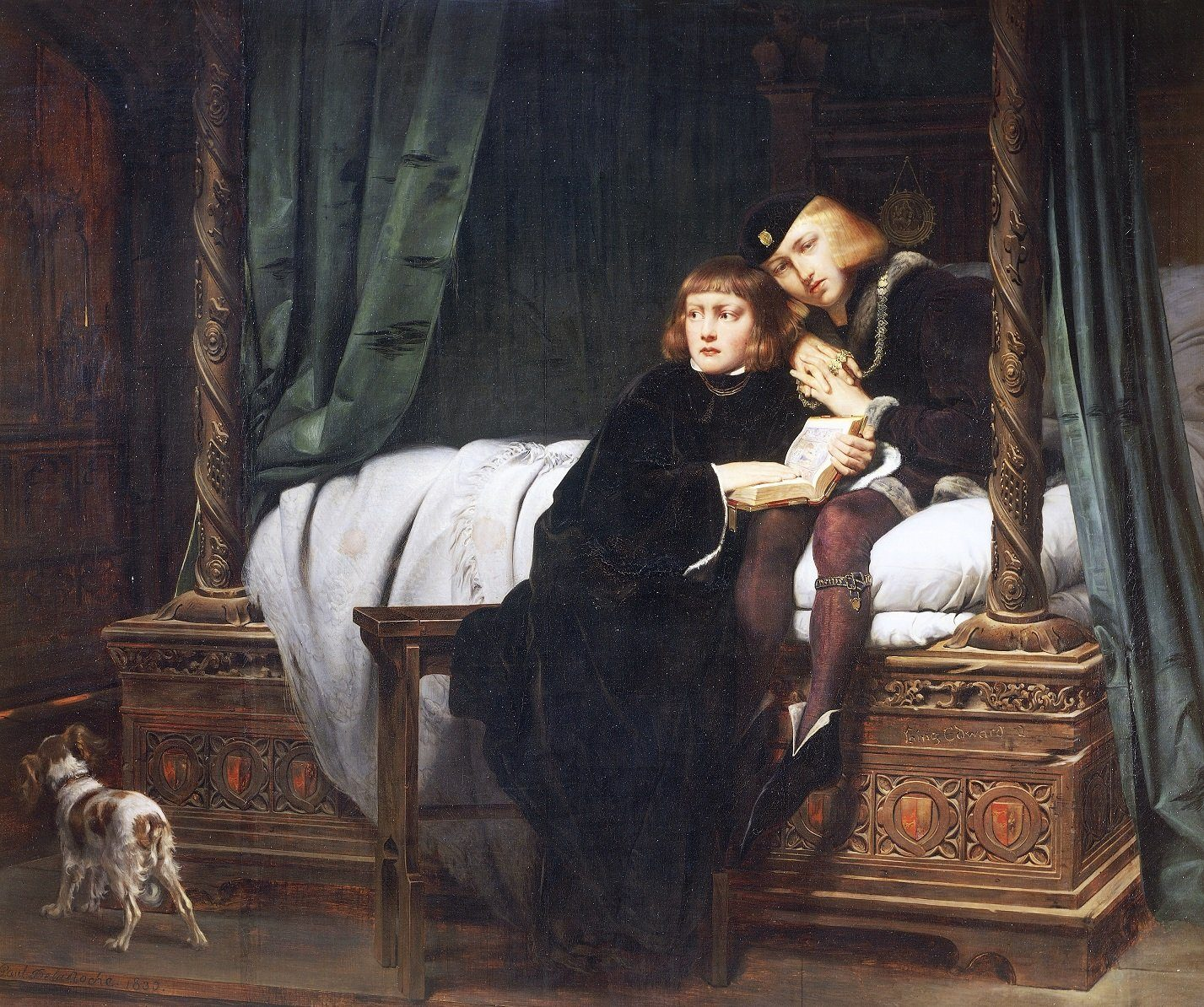 The Princes in the Tower, Edward V (1470-circa 1483) and his brother Richard (1473-ca 1483), sons of Edward IV of England and Elizabeth Woodville. Painting by Paul Delaroche (1797-1856), 1831, oil on canvas, 181x215 cm. Paris, Musée Du Louvre
