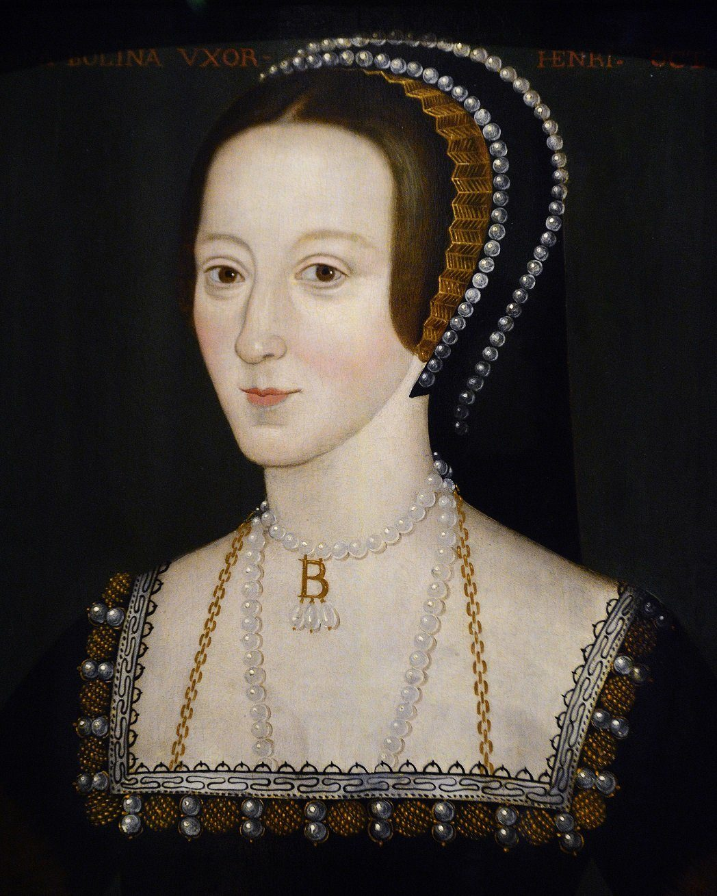 A late 16th century portrait of Anne Boleyn (c.1500-1536) by an unknown artist on display at the National Portrait Gallery in London, England.