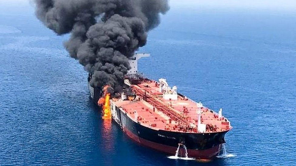 The crude oil tanker Front Altair on fire in the Gulf of Oman, 13 June 2019