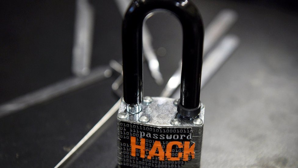 A padlock is displayed at the Alert Logic booth during the 2016 Black Hat cyber-security conference in Las Vegas