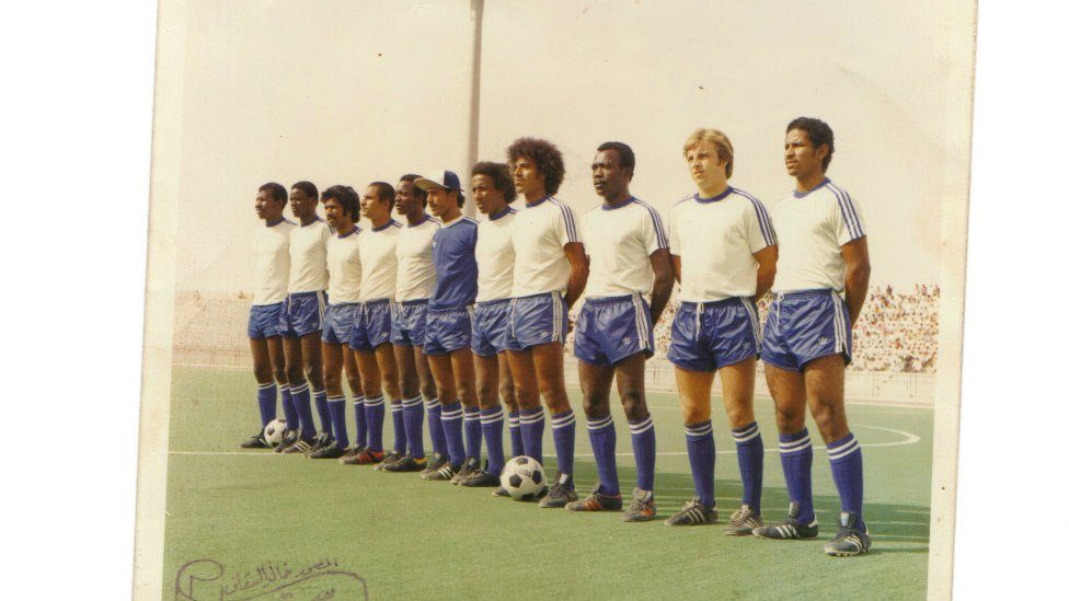 Eamonn O'Keefe (second from right) playing for Al-Hilal in Saudi Arabia in the 1970s