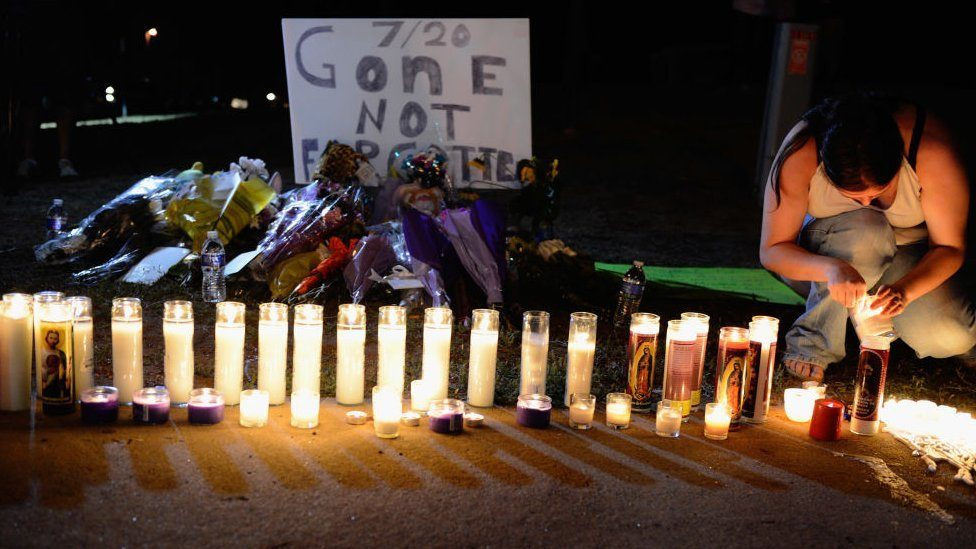 Night vigil for the victims of the 2012 movie theatre shootings in Aurora