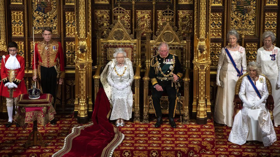 Queen Elizabeth II and Prince Charles, Prince of Wales attend the State Opening of Parliament by Queen Elizabeth II, in the House of Lords at the Palace of Westminster on October 14, 2019