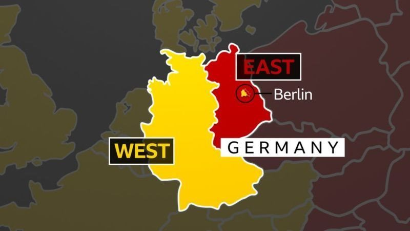 This map shows how Germany was split down the middle, with the capital city of Berlin in the Soviet-controlled east side of the country