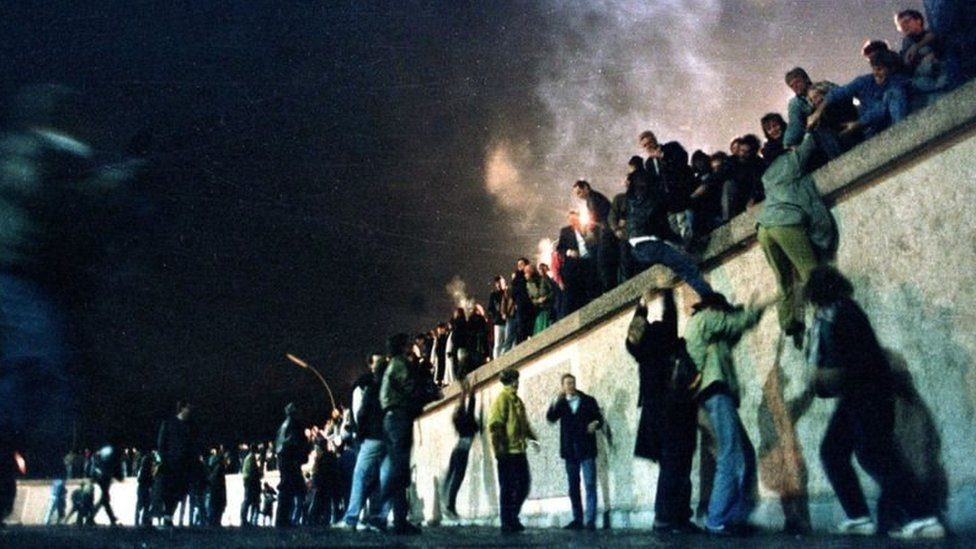 On 9 November 1989, there were scenes of great celebration in Berlin as thousands of people flooded across the Berlin Wall