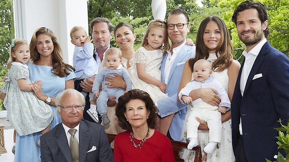 Sweden's royal family pose for a photograph at Solliden Palace in July 2016