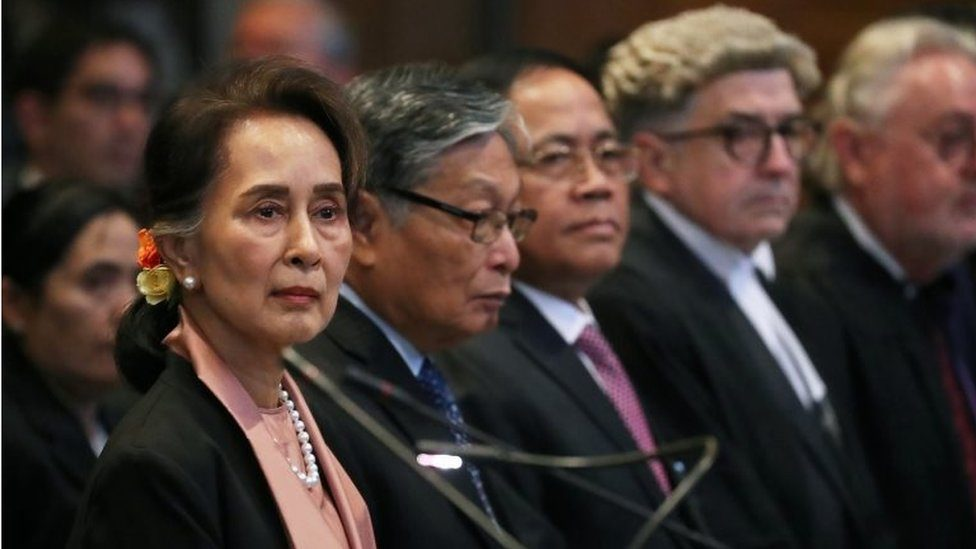 "Myanmar""s leader Aung San Suu Kyi attends a hearing in a case filed by Gambia against Myanmar alleging genocide against the minority Muslim Rohingya population, at the International Court of Justice (ICJ) in The Hague, Netherlands December 10, 2019."