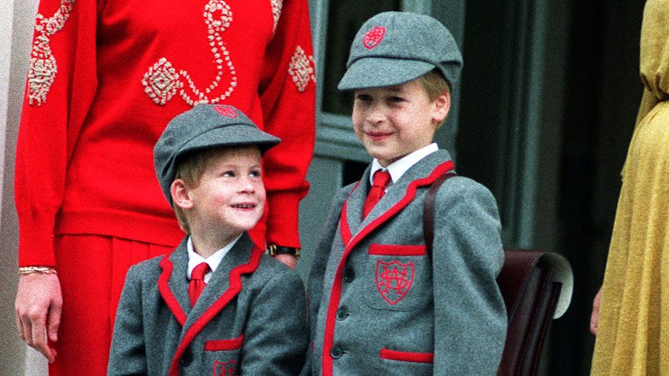 Prince Harry, five, with Prince William