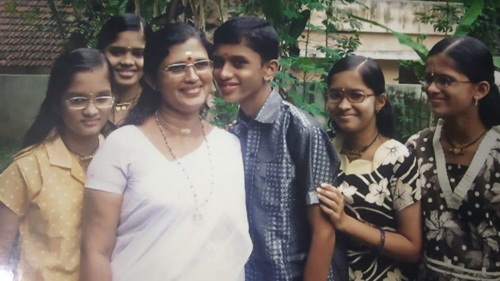 Rema Devi with her son and four daughters