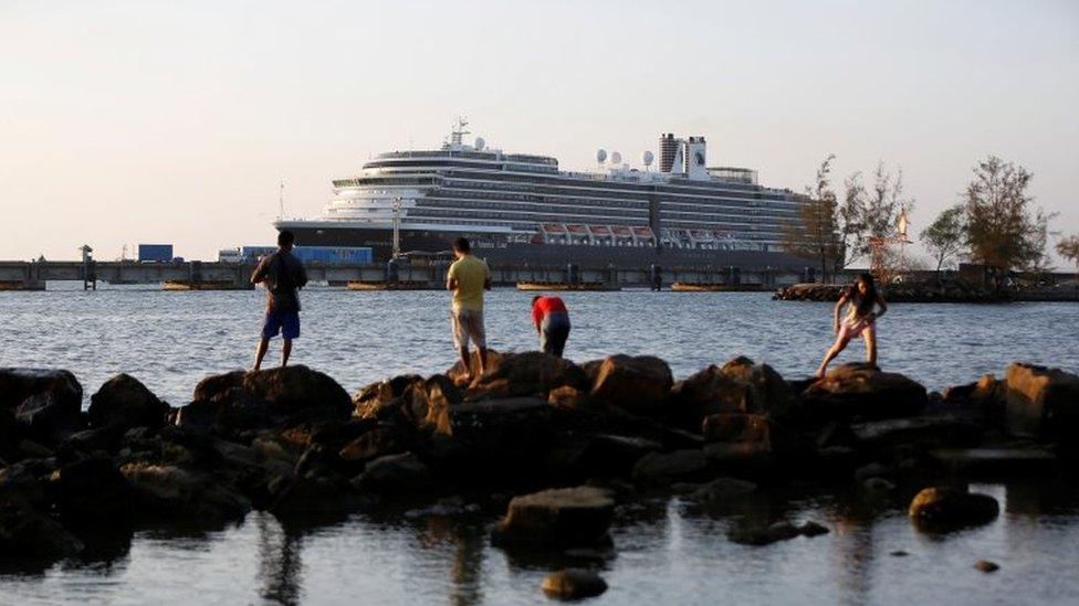 MS Westerdam cruise ship is moored at port in Sihanoukville, where it has been granted permission to dock following nearly two weeks at sea after being turned away by five countries over coronavirus fears, Cambodia February 13, 2020.