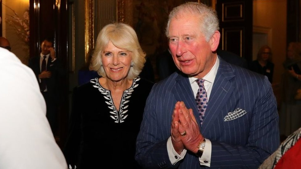 09/03/20 of the Prince of Wales and the Duchess of Cornwall greeting guests during the Commonwealth Reception at Marlborough House, London on Commonwealth Day