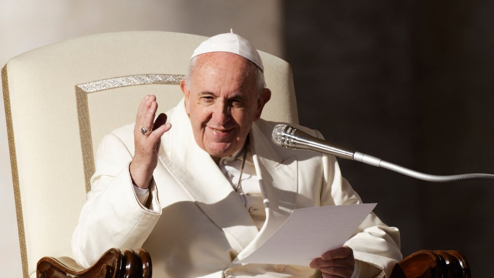 Pope Francis at his weekly audience