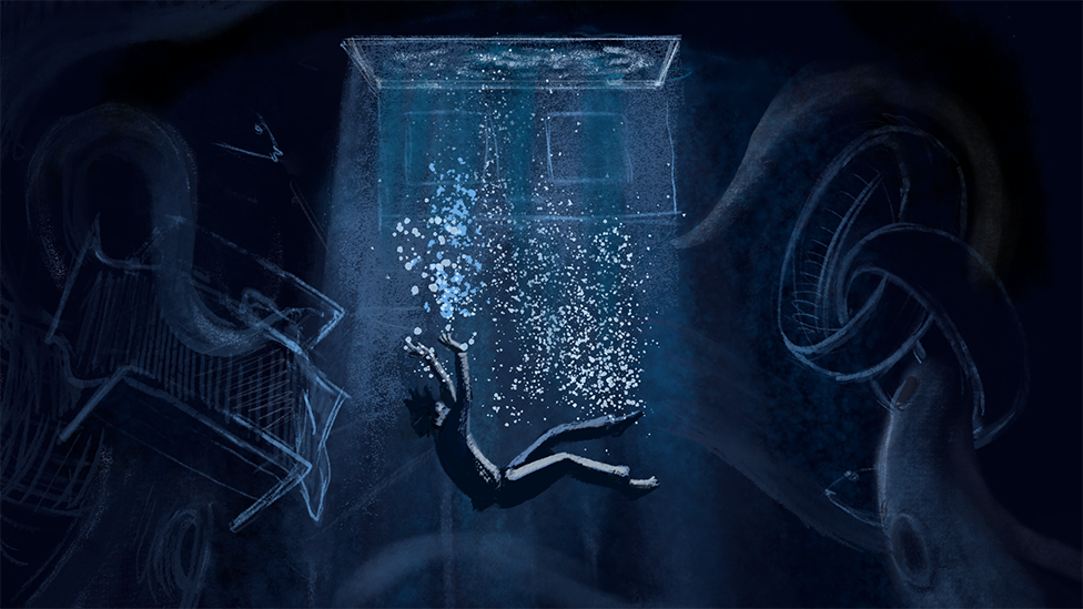 An illustration of a person sinking into a dystopian pool