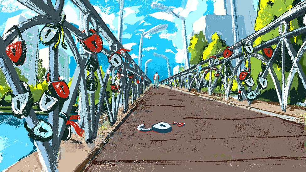An illustration of a bridge with a man walking into the distance