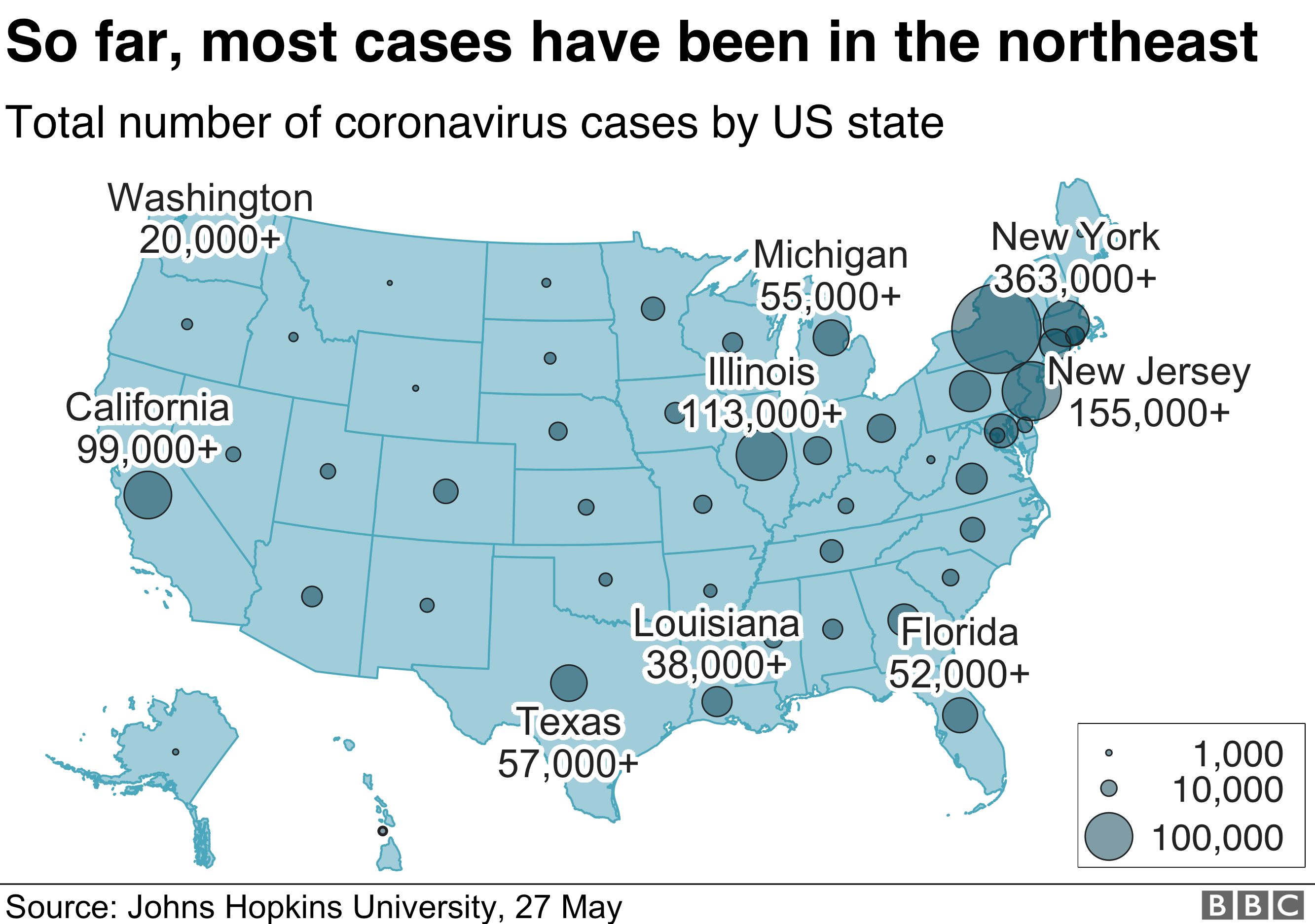 Map showing the total number of coronavirus cases by US state. At the moment, the overwhelming majority have been in the northeast of the country