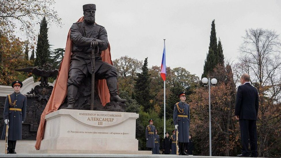 Putin unveiling a monument to Tsar Alexander III, father of the last Romanov Tsar Nicholas II, in Yalta, Crimea, on November 18, 2017.