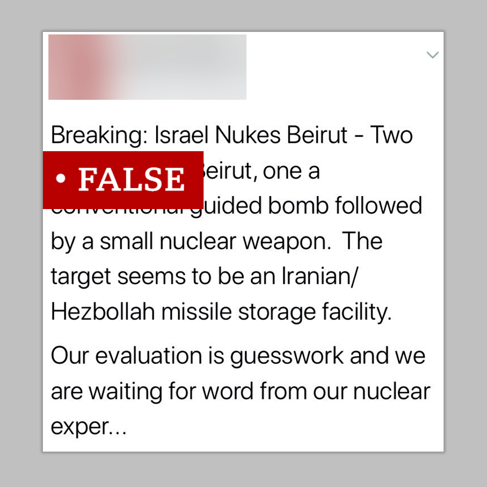 Screenshot of a post making the false claim that a missile was responsible for the explosion in Beirut - suggesting the target was a Hezbollah missile storage facility