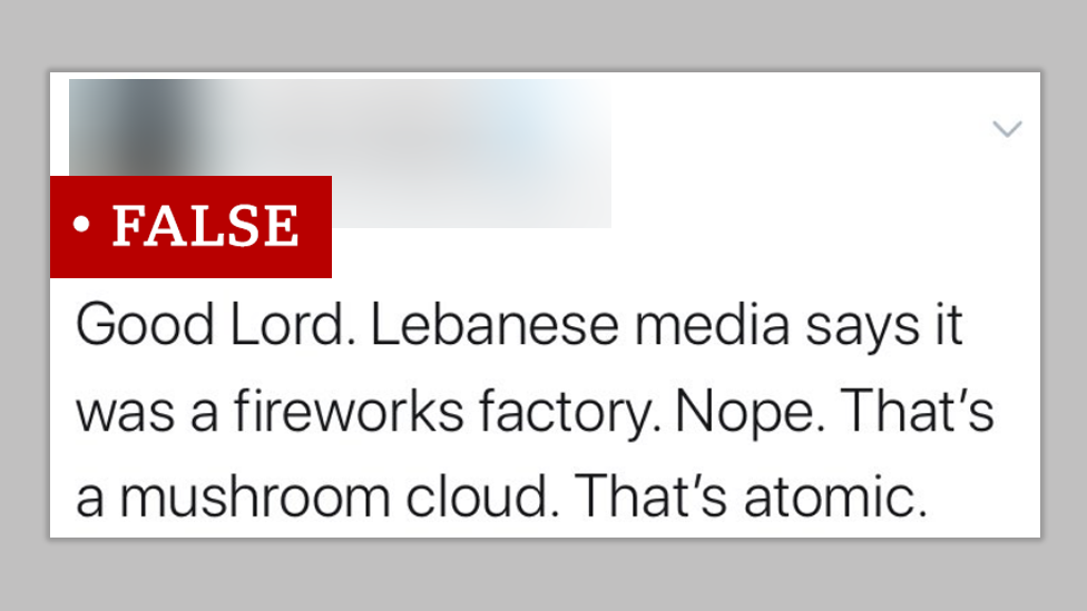 """Screenshot of a post making the false claim that the mushroom cloud created by the explosion in Beirut was """"atomic"""". We labelled the post """"false"""""""