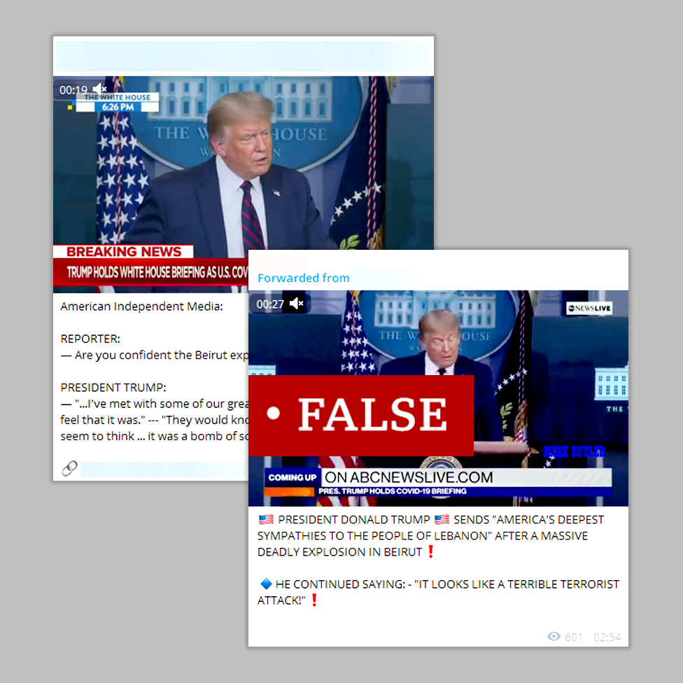 """Two screenshots labelled """"false"""" featuring Donald Trump at a press conference with fabricated quotes attributed to him suggesting the US president called the explosion a terrorist attack"""