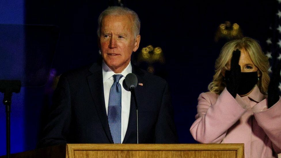 U.S. Democratic presidential nominee and former Vice President Joe Biden accompanied by his wife Jill, delivers remarks after early results from the 2020 U.S. presidential election in Wilmington, Delaware, U.S., November 4, 2020.