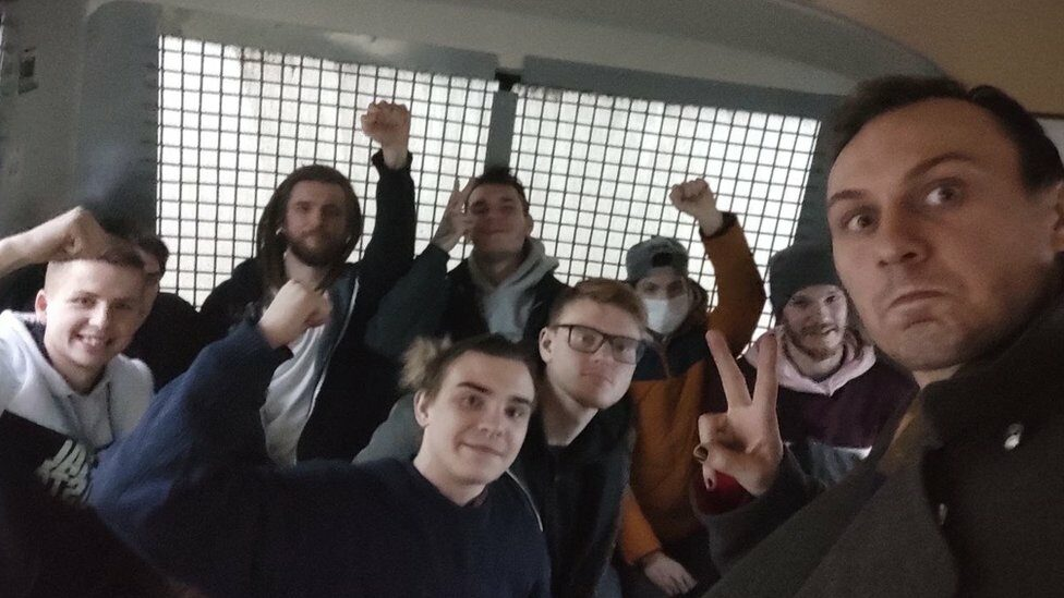 Detained protesters in Moscow