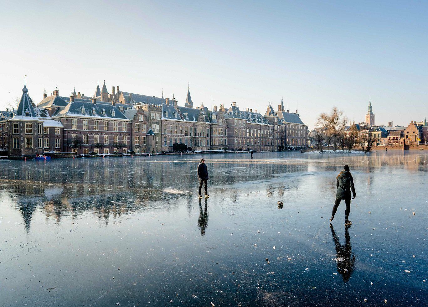 Skaters on the Hofvijver in The Hague, The Netherlands, 12 February 2021