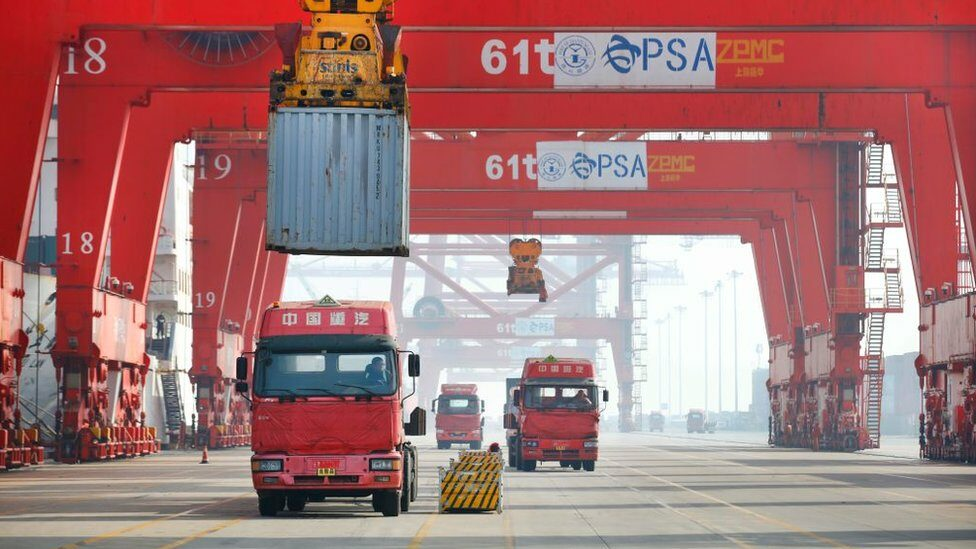 Trucks at a Chinese container port