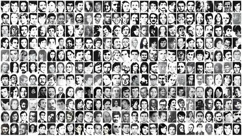 """Faces of the """"Desaparecidos"""" in the so-called ABO Circuit, made up of the detention centers Atletico, Banco and Olimpo"""