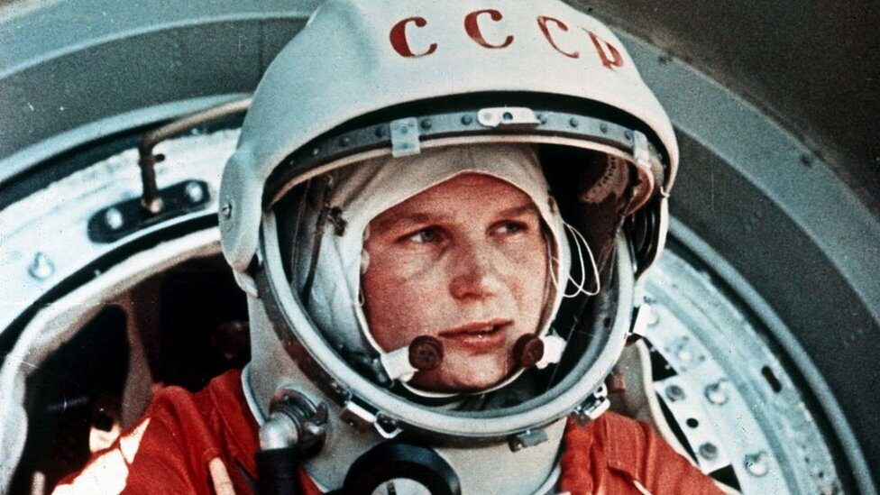 Soviet cosmonaut Valentina Tereshkova, the first woman in space, in front of the Vostok 6 capsule, June 1963.