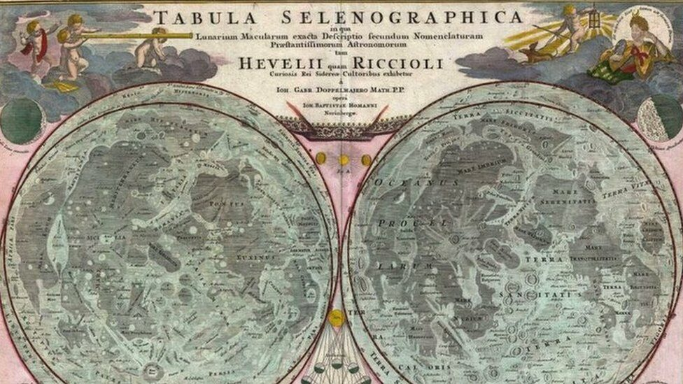 Reproduction of an old lunar cartography: 1707, Homann and Doppelmayr Map of the Moon, based on Riccioli's