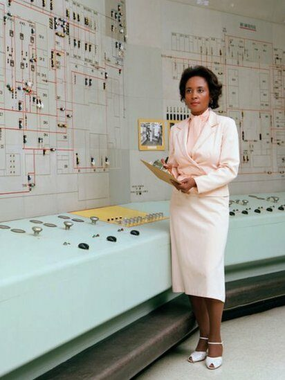 Portrait of American computer scientist, mathematician, and engineer Annie Easley at NASA's Lewis Research Center (later Glenn Research Center), Brook Park, Ohio, 1960s.