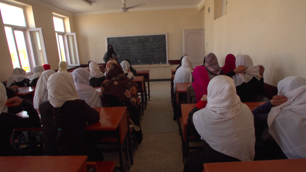Girls pictured in a classroom in a Taliban-controlled area