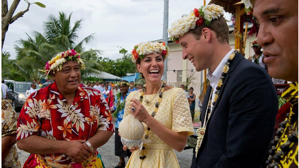 William and Kate drinking from a coconut in Tuvalu in 2012