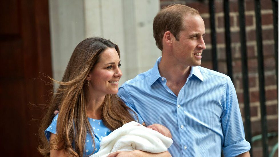 Kate and William with Prince George after he was born