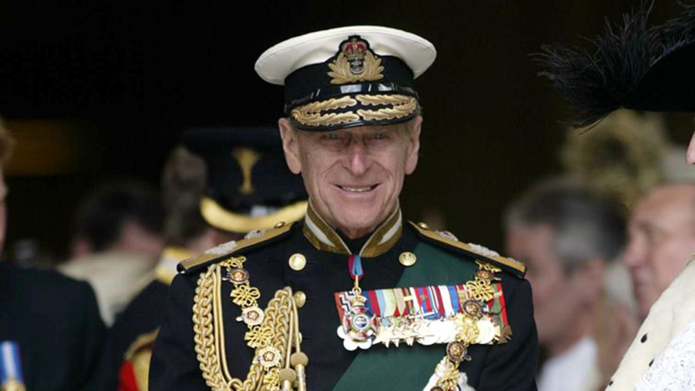 Prince Philip in naval uniform at a service to mark the Queen's Golden Jubilee in 2002