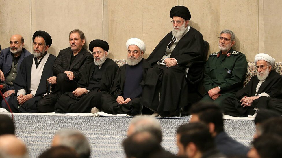 Iranian Supreme Leader Ayatollah Ali Khamenei (3rd right), Quds Force chief Gen Esmail Qaani (2nd right), President Hassan Rouhani (4th right), judiciary chief Ebrahim Raisi (4th left), chairman of the Assembly of Experts Ahmad Jannati (R). , attend a memorial for Qasem Soleimani in Tehran, Iran on 9 January 2020