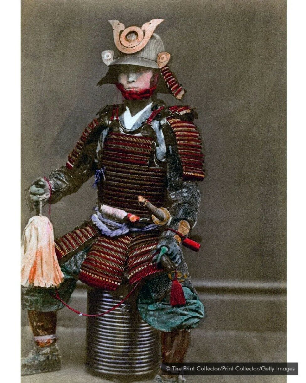 Image of a samurai in his armour in 1882.