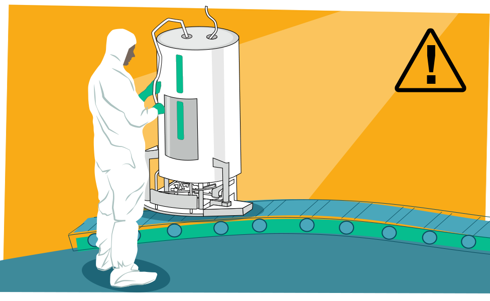Illustration of a bioreactor and worker