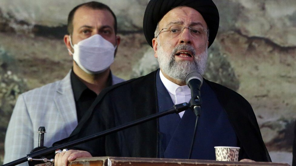 Iranian presidential candidate Ebrahim Raisi addresses supporters at an election rally in Eslamshahr, Iran (6 June 2021).