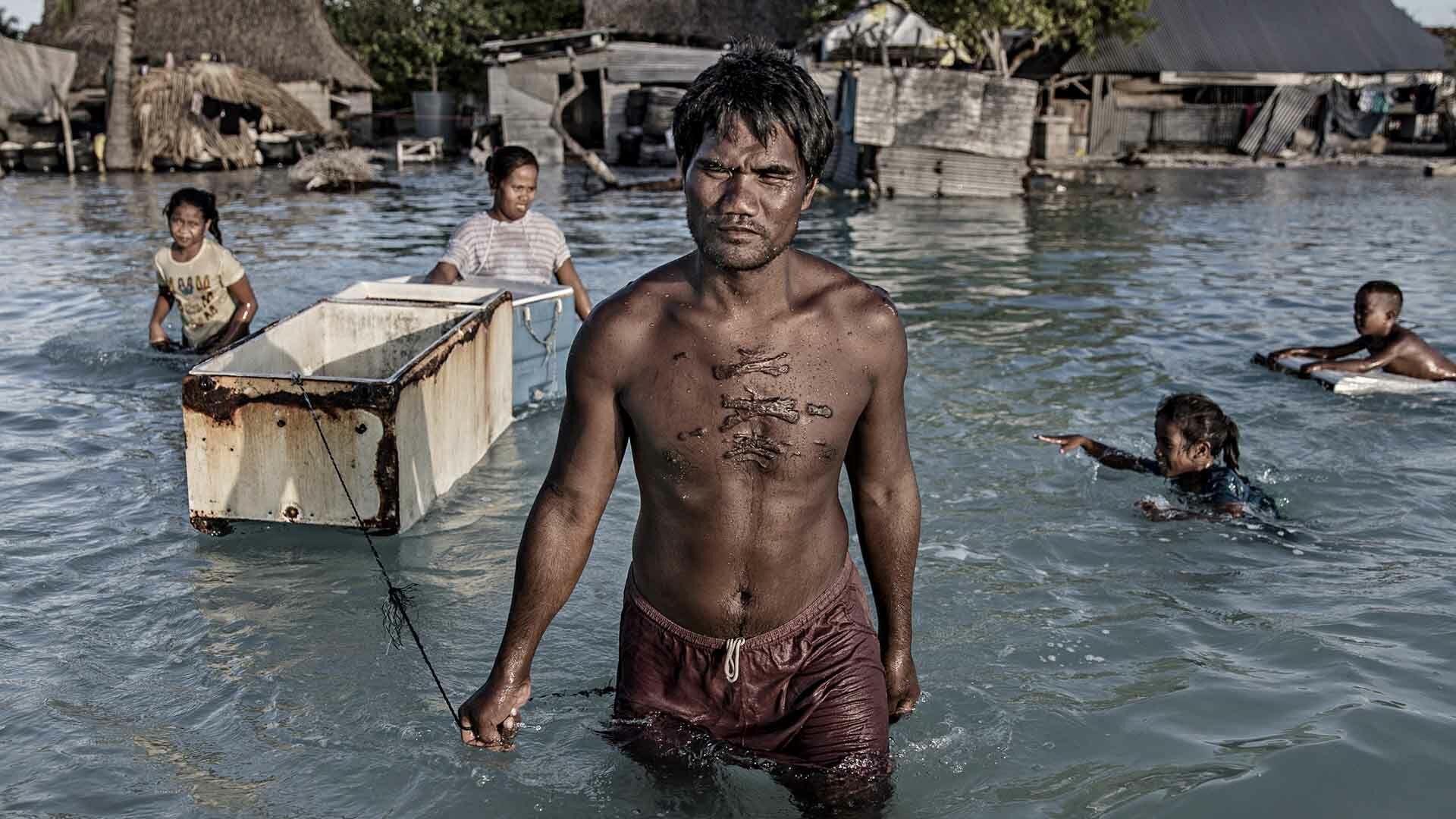 Villagers in Kiribati affected by flooding