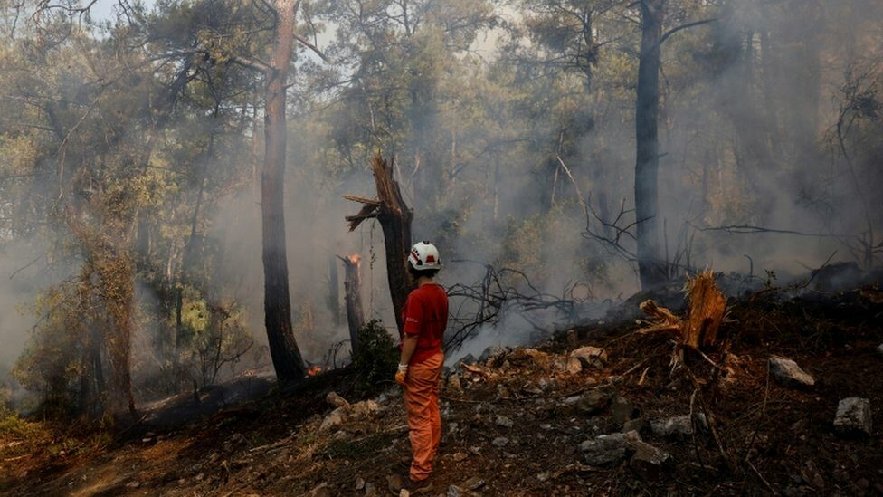 A volunteer stands by a wildfire near Marmaris, Turkey