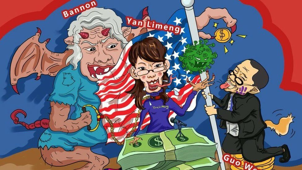 The caricatures of Bannon, Yan Limeng, and Kuo Wengui (from left to right) were caricatures of the cartoon.