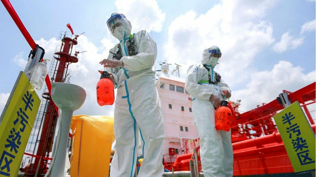 Officials have disinfected several areas of Nanjing, including the port area.