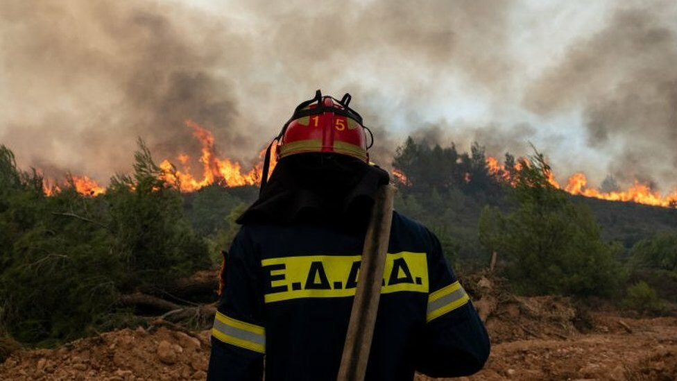 Fire-fighters tackle a wildfire near Athens