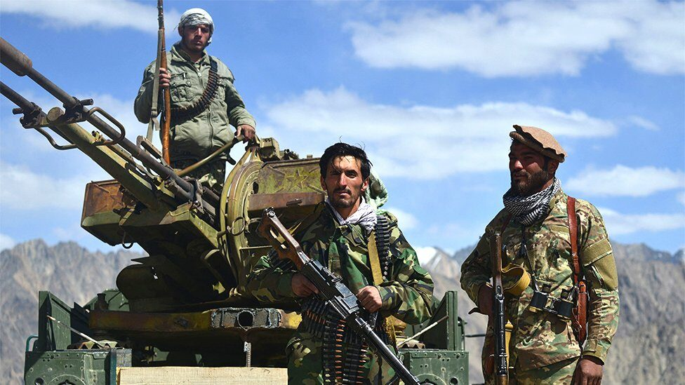 Afghan resistance movement and anti-Taliban uprising forces personnel. Panjshir province, Afghanistan, August 2021