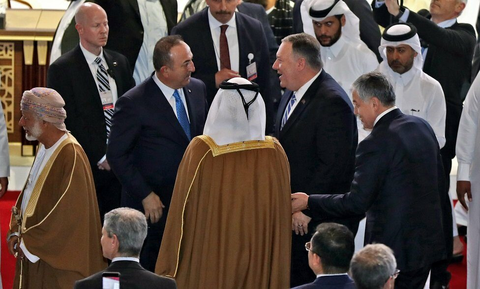 US Secretary of State Mike Pompeo and Turkish Minister of Foreign Affairs Mevlut Cavusoglu in Doha
