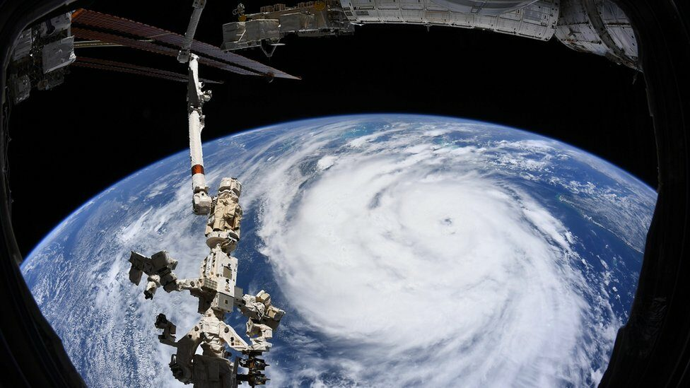 Hurricane Ida is seen in this image taken aboard the International Space Station