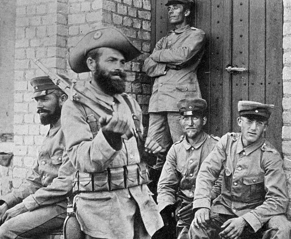 Soldiers in German Southwest Africa (now Namibia) during the Ovaheraro Revolution of 1904.